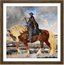 Slott Moller Niels Ebbesen Horse Danish Painting Square Wooden Framed Wall Art Print Picture 16X16 Inch