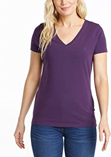 Nautica womens Easy Comfort V-Neck Supersoft Stretch Cotton Solid T-Shirt T-Shirt