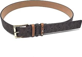 Michael Kors Womens Gold Buckle,Two-Toned Belt,Chocolate/Luggage,Size Medium