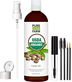 Castor Oil - USDA Certified Organic - 100% Pure, Cold-Pressed, Extra-Virgin, Hexane-Free. Best Serum For Eyelash, Hair, Eyebrows & Skin - Boost Growth Naturally - with Applicator Brush Kit (8oz)