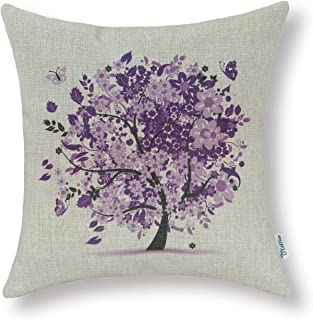CaliTime Canvas Throw Pillow Cover Case for Couch Sofa Home Decoration Butterflies Floral Leaves Tree 18 X 18 Inches Purple