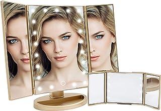 مجموعة مرآة مكياج تاتش آند جو ذات ثلاث طيات مع إضاءة LED خافتة، مرايا مكياج توضع على سطح الطاولة مع قاعدة حساسة باللمس وال...