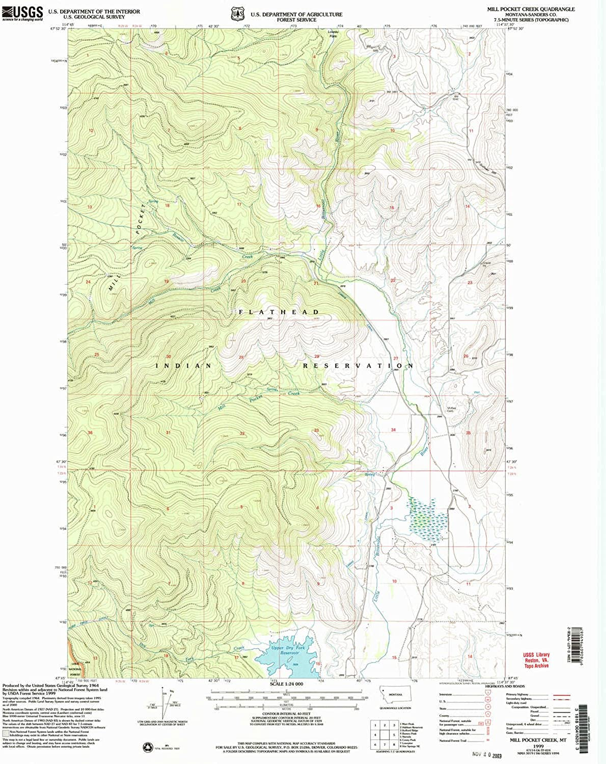 Mill Pocket Creek MT topo map, 1 24000 Scale, 7.5 X 7.5 Minute, Historical, 1999, Updated 2003, 27 x 22.1 in