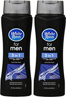 White Rain for Men 3 in 1 Shampoo/Conditioner/Body Wash Cool Ocean Wave - 15 oz, Pack of 2