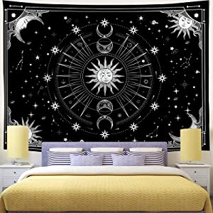 Bowavat Wall Tapestry , Sun and Moon Tapestry Psychedelic Black and White Tapestry Wall Hanging Tapestry Mystic Stars Space Tapestry for Bedroom Living Room Dorm Decor (H29.5