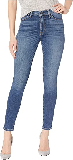 Barbara High Ankle Raw Hem Skinny Jeans in Clean Side Bar