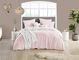 Swift Home Reversible Microfiber Washed Crinkle Duvet Cover & Sham (1 Duvet Cover with Zipper Closure & 2 Pillow Shams), Premium Hotel Qaulity Bed Set, Ultra-Soft – King/Cal King, Pale Pink/White