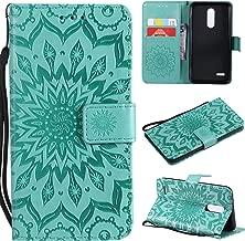 Cmeka Emboss 3D Sunflower Wallet Case for LG K10 2018 / LG K30/LG Premier Pro LTE/LG K10 Alpha Slim Flip Leather Protective Case with Credit Card Slots Holder Mint Green