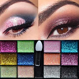 Niome 12 Color Women Warm Sparkle Glitter Makeup Cream Eyeshadow Brush Palette Party