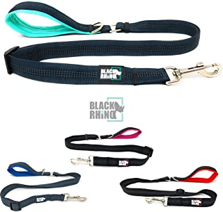 Black Rhino – Dog Leash Adjustable Length (3-5 Feet) with Soft Neoprene Padded Handle | Heavy Duty Lead for Easy Control | Small Medium Large Breeds | Reflective Stitching