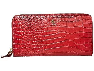 LAUREN Ralph Lauren Mini Croc Embossed Zip Continental Wallet Large (Red) Handbags
