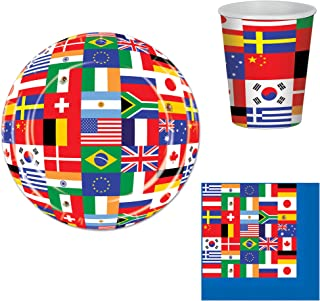 International Flags Party Bundle for 16: Plates, Napkins, and Cups