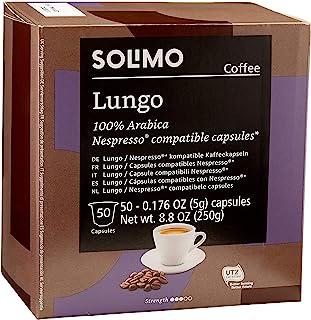 Amazon Brand - Solimo Lungo Capsules 50 CT, Compatible with Nespresso Original Brewers