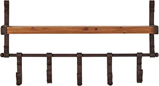 Stone & Beam Industrial Rustic Metal Floating Shelf with 5 Hooks - 13 x 22 x 5 Inch, Black and Wood