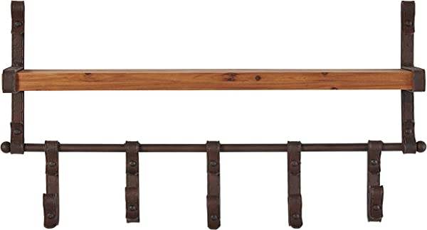 Stone Beam Industrial Rustic Metal Floating Shelf With 5 Hooks 13 X 22 X 5 Inch Black And Wood