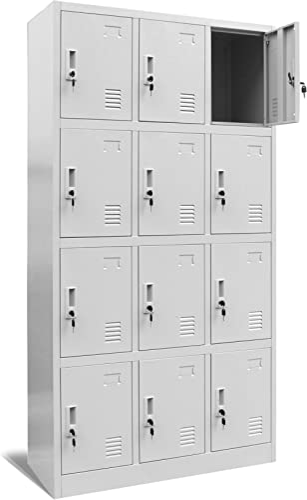 Casier vestiaire 3B4A armoire metallique 12 Compartiments revêtement en poudre 185 cm x 90 cm x 40 cm (gris/gris)