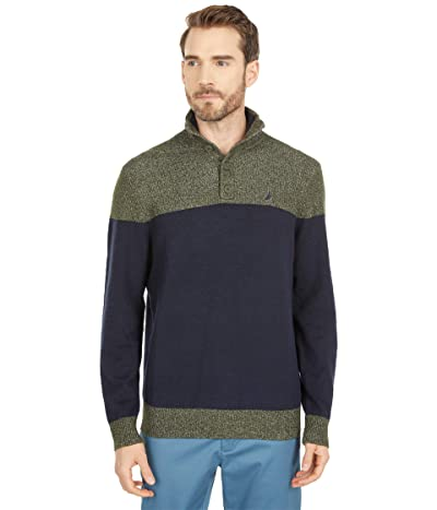 Nautica Classic Fit Color-Block Sweater (Navy) Men