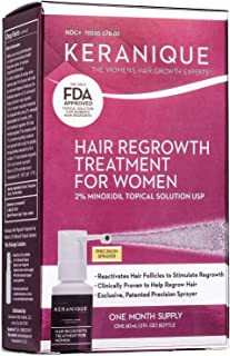 Keranique Hair Regrowth Treatment Extended Nozzle Sprayer - 2% Minoxidil, 30 Day Supply - Regrow Thicker-Looking Hair, Helps Revitalize Hair Follicles, 2 Fl Oz (Pack of 1)