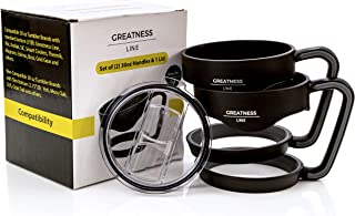 Greatness Line Set of 2 (two) Handles for 30 oz Tumbler + 1 Sliding Lid - Fits GL, Rtic, Sic Cup, Smart Coolers - Fits most Standard Size Tumblers, NOT the Slim Bottom Types