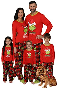 Dr. Seuss The Grinch Matching Family Pajama Sets, Women, Size Large Red