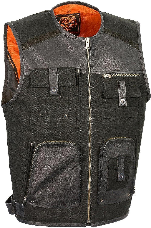 Milwaukee Leather Men's And Canvas Zipper Front Super Utility Multi Pocket Vest Black
