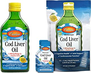 Carlson - Cod Liver Oil and Cod Liver Oil Single-Serving Packets for On-The-Go, Lemon Flavor, 1100 mg Omega-3s + Vitamins A and D3, 250 mL Bottle and 15 - 5 mL Packets