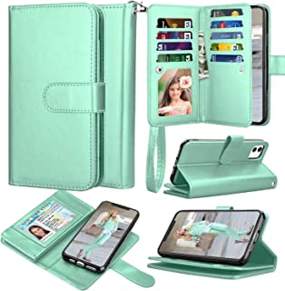 Takfox iPhone 11 Case 6.1 inch, iPhone 11 Wallet Case PU Leather Folio Flip 9 Card Slots Holder with Lanyard Detachable Magnetic Wallet Phone Cover Case for iPhone 11 6.1 2019 inch Turquoise 1101-2205