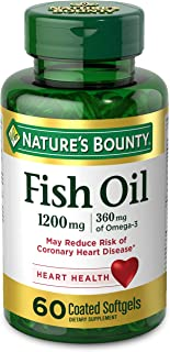 Fish Oil by Nature's Bounty, Dietary Supplement with 360mg Omega-3, Supports Heart Health, 1200mg, 60 Coated Softgels