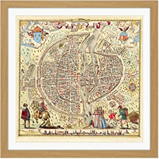 Map Rossingol 1576 Paris City Plan Pictorial Square Wooden Framed Wall Art Print Picture 16X16 Inch 地図パリシティ木材壁画像