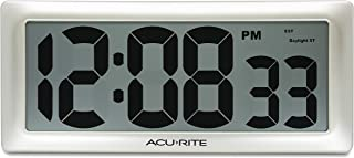 "AcuRite 13.5"" Large Digital Indoor Wall Clock with Intelli-Time Technology (75173M), Champagne"
