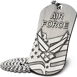 Air Force Antique Finish Dog Tag Necklace-Isaiah 40:31