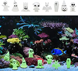 Miwasion 8 pack Fluorescence Halloween Aquarium Decor Ornament,Halloween Resin Pumpkin Ghost statue Crafts Aquarium Decorations,Suitable for fish Tanks,Desktop Decoration Statues Halloween Party Gifts