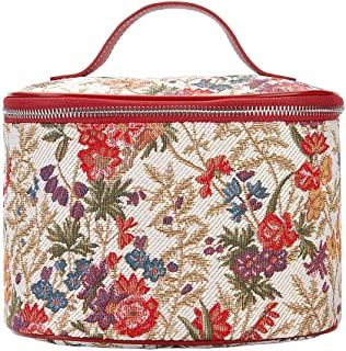 Signare Tapestry Toiletry Bag Makeup Organizer bag for Women with Flower Meadow Design