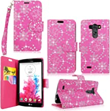LG G Vista Case-Cellularvilla Pu Leather Wallet Card Flip Open Pocket Case Cover Pouch For LG G Vista VS880 (Verizon/AT&T) (Pink Glitter)