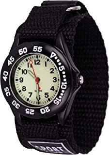 Wolfteeth Grade School Kids Boys Portable Army Military Wrist Watch Time Teacher, Nylon Hook & Loop Strap Black 304201F