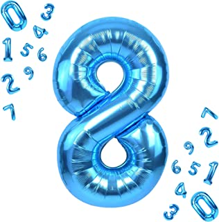 Blue Number 8 Balloon for 8th Birthday - Large, 40 Inch   8 Balloon for Eighth Birthday Decorations   Number 8 Balloon Blu...