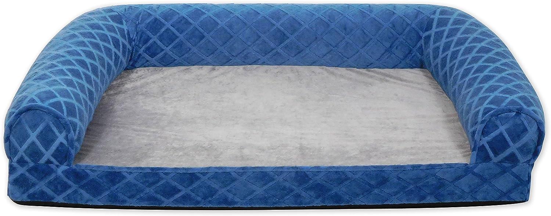Arlee 5940399ALT Orthopedic Rectangle Bolster Sofa Style Pet Bed, Small Medium, Atlantic bluee