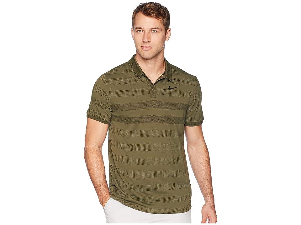 Nike Golf Zonal Cooling Stripe Polo (Olive Canvas/Black) Men