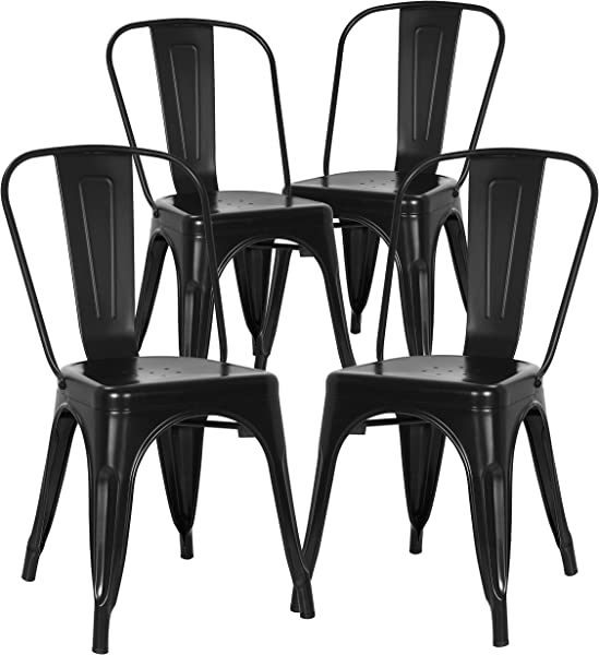 Poly And Bark Trattoria Kitchen And Dining Metal Side Chair In Black Set Of 4