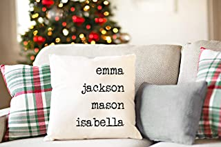 "Best Qualtry Personalized Throw Pillowcase, 18x18"" Decorative Pillow Cover with Hidden Zipper (5 Names) - Unique Housewarming and Holiday for Grandparent, Mom, Sister, Grandma, Couples, Family Review"