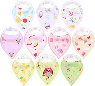 10-Pack Baby Girl Bibs, Multipack Bandana Stay-Dry Triangle Mealtime Feeding Cloths, 2 Snaps, Unique Prints, Stain and Odor Resistant, Highly Absorbent & Soft Shower Gift Set for Drooling and Teething