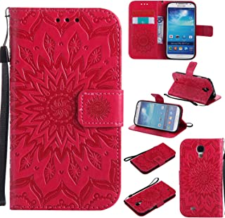 Galaxy S4 Wallet Case,A-slim(TM) Beauty Fashion Sun Pattern Embossed PU Leather Magnetic Flip Cover Card Holders & Hand Strap Wallet Purse Cover Case for Samsung Galaxy S4 I9500 - Red