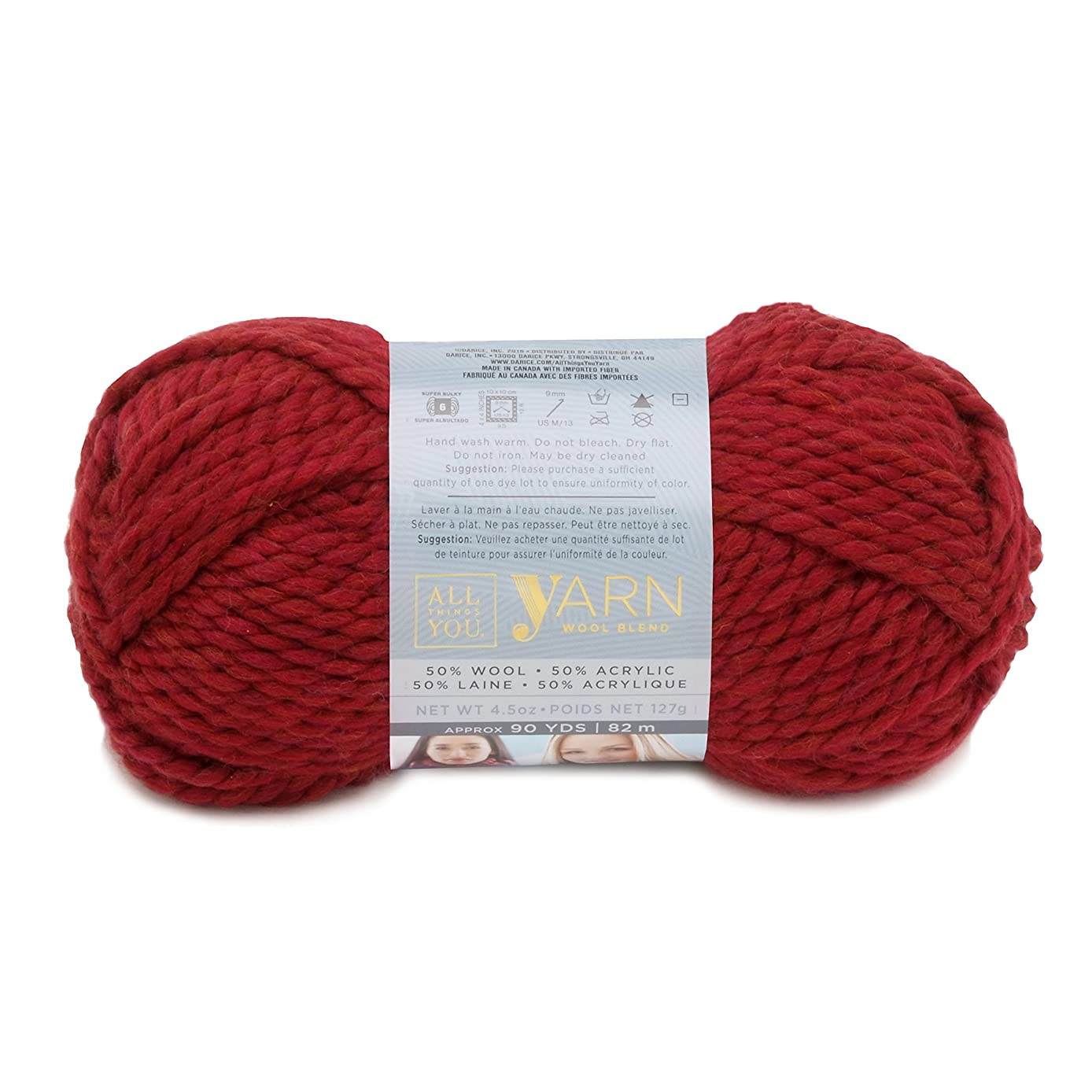 Darice All Things You, Wool and Acylic Blend Yarn, Merlot