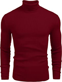 JINIDU Mens Casual Basic Ribbed Slim Fit Knitted Pullover Turtleneck Thermal Sweater
