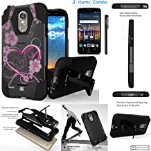 For LG Stylo 3 LG Stylo 3 Plus 2017 LS777 MP450 M430 L83BL /ITUFFY 3items: LCD Film+Stylus Pen+[Dual Layer] [Impact Resistance] [KickStand] Hybrid Armor Case (White Rosy Heart)