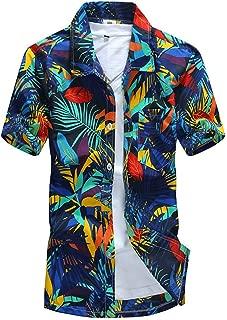 2018 Summer Hawaiian Shirt Men Casual Short Sleeve Mens Beach Shirts Floral Printing