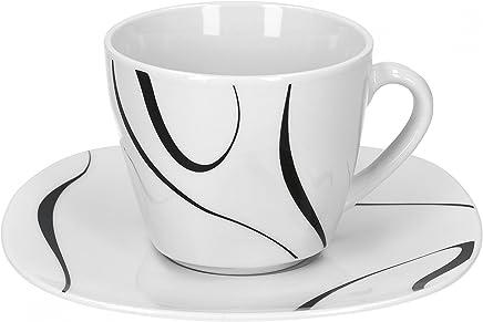 Preisvergleich für Van Well Galaxy 6er Set Kaffeetasse + Untertasse, Kaffee-Set, Liniendekor, edles Marken-Porzellan