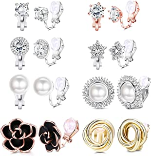 YADOCA 8 Pairs Clip Earrings for Women Rose Flower CZ Simulated Freshwater Pearl Twist Knot Non Pierced Clip On Earrings