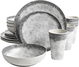 Gibson Granite Organic Marble look Plastic Melamine Dinnerware Set, 16 pc