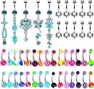 65 Belly Button Rings Dangle Barbells 14G Acrylic Bioflex Steel CZ Navel Body Jewelry